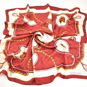 "CARTIER: Red ""Chain/Crystals"" & Logo Silk Scarf mt"